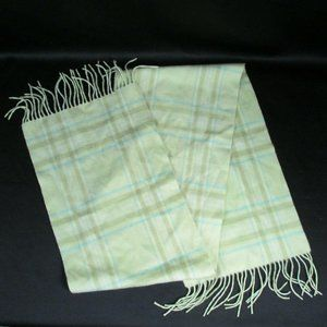 Nordstrom Green Blue 100% Cashmere Plaid Scarf